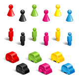 Gaming pieces. Set of color plastic gaming pieces  on white Royalty Free Stock Photo