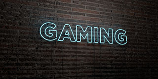 GAMING -Realistic Neon Sign on Brick Wall background - 3D rendered royalty free stock image Stock Photography
