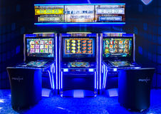 Gaming slot machines in a casino. Sofia, Bulgaria - November 24, 2016: Gaming slot machines at an exhibition for casino machines and gambling equipment in Inter Stock Photo