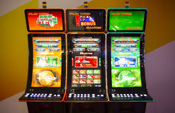 Gaming slot machines in a casino. Sofia, Bulgaria - November 24, 2016: Gaming slot machines at an exhibition for casino machines and gambling equipment in Inter royalty free stock photos