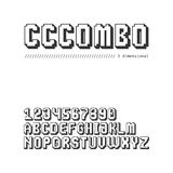 Gaming style 8 bit pixel font set in uppercase (3d version). Gaming style 8 bit pixel font set in uppercase. Letters and digits (3d version Royalty Free Stock Photo