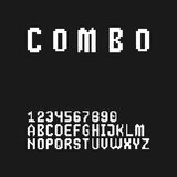 Gaming style 8 bit pixel font set in uppercase. (letters and digits Stock Photos