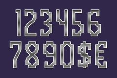 Gaming stylized monochrome numbers with currency signs of dollar and euro.  vector illustration