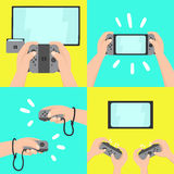 Gaming system. Four different types of use. New portable gaming system. Four different types of use. Vector hand drawn illustration Stock Image