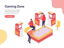 Gaming Zone Illustration Concept. Isometric design concept of web page design for website and mobile website.Vector illustration royalty free stock images