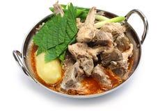 Gamjatang, pork bone and potato soup, korean cuisine. Isolated on white background Stock Photography