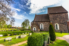 Gamla乌普萨拉,瑞典教会Sideview  免版税库存照片