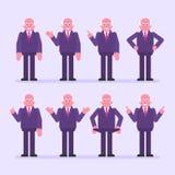 Gamla affärsmanpunkter och shower set vektor för teckeningrepp royaltyfri illustrationer