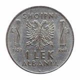 Gamla albanska Lek som isoleras över vit Royaltyfri Fotografi