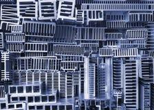 Gamla aluminum kylflänsar - abstrakt bakgrund Arkivbilder