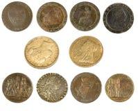 Gamla antikvitetmynt och härskare royaltyfria bilder