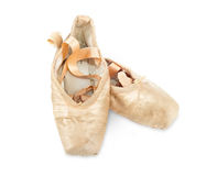Gamla använda rosa balettskor Royaltyfri Bild