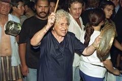 Gamla argentinska kvinnaprotester mot politisk politik royaltyfri fotografi