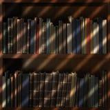 Gamla böcker i arkivhylla med rullgardiner skuggar royaltyfri bild