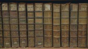 Gamla böcker på en bokhylla i arkivet stock video
