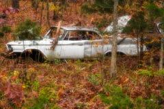 Gamla bilar på backen arkivfoto
