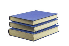 Gamla blåa böcker som isoleras på vit Fotografering för Bildbyråer
