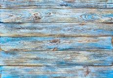 Gamla blått målad wood plankabakgrund för grunge Arkivbild