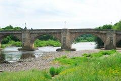 Gamla bro och River Tyne på Corbridge, Northumberland Royaltyfri Bild