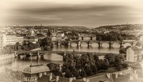 Gamla broar av Prague Arkivfoton