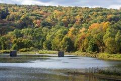 Gamla bropelare står i den Farmington floden, Collinsville, Royaltyfri Bild