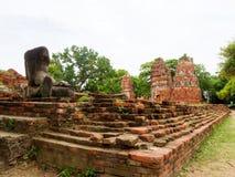 Gamla brutna tegelstenar i historiska Ayutthaya parkerar av Thailand Fotografering för Bildbyråer