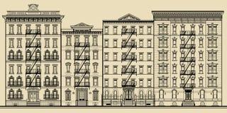 Gamla byggnad och fasader av New York Royaltyfri Bild