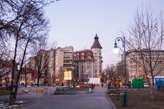 Gamla byggnader i Bucharest Royaltyfria Bilder