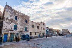 Gamla byggnader i den gamla staden av Essaouira Arkivfoto