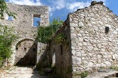 Gamla byggnader i Pocitelj, Bosnien och Hercegovina Arkivfoton