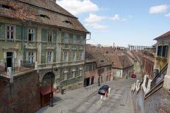Gamla byggnader i Sibiu, Rumänien Fotografering för Bildbyråer