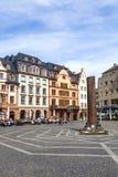 Gamla byggnader på stället för central marknad i Mainz Arkivbild