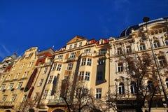 Gamla byggnader, Wenceslav fyrkant, ny stad, Prague, Tjeckien Royaltyfri Foto