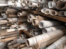 Gamla byggnadsritningar arkivfoto