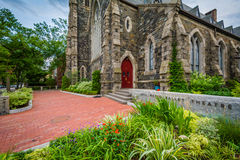 Gamla Cambridge Baptist Church, i Cambridge, Massachusetts Arkivfoton