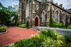Gamla Cambridge Baptist Church, i Cambridge, Massachusetts Fotografering för Bildbyråer