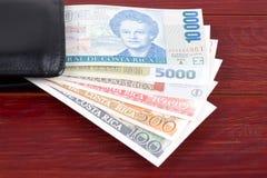 Gamla Costa Rican pengar i den svarta plånboken