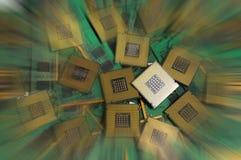 Gamla datorCPU-processorer med enheter för RAMminne Arkivbilder