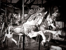 Gamla den glade karusellhästen går rundamunterhetritten Arkivbilder