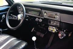Gamla detaljer för öppning för klassikersvartbil Royaltyfri Bild