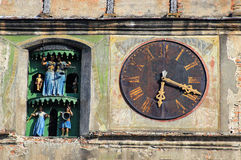 Gamla detaljer för klockatorn Arkivbild