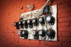Gamla elektriska meter Royaltyfria Foton
