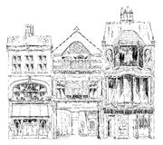 Gamla engelska radhus med litet shoppar eller affären på bottenvåning Kvalitetsgata, London Skissa samlingen Arkivfoton