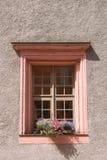 Gamla fönster och blommor på en gammal byggnad Royaltyfria Foton
