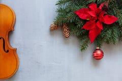 Gamla fiol- och gran-träd filialer med juldekoren royaltyfria foton