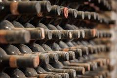 Gamla flaskor av vin i gammal källare arkivfoto