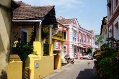 Gamla gator av Panaji, huvudstad av det Goa tillståndet Arkivfoton