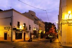 Gamla gator på Merida i gryning Arkivbilder
