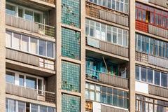 Gamla glasade balkonger arkivbild