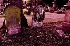 Gamla gravstenar på den gotiska kyrkogården Arkivbild